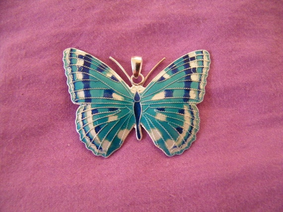SALE- 6grams Silver Marked S925 Butterfly Enameled Pendant