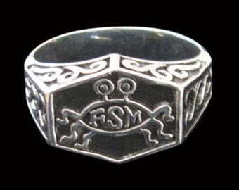 Stainless Steel Flying Spaghetti Monster FSM Ring - Free Re-Size/Shipping Atheism Athiest Pastafarian