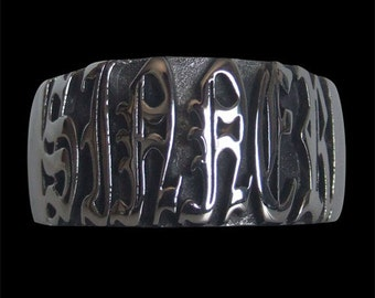 Solid 92.5% Sterling Silver Sinner Band gothic script  Ring - Free Re-Size/Free Shipping Worldwide