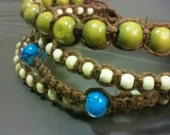 4 Strand Bracelet With Brown Hemp and Turquoise Beads