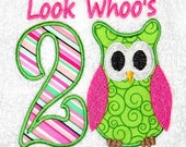 Owl Applique, Owl Number Applique, Embroidery Designs (505) Instant Download