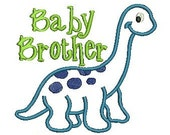 Baby Brother Embroidery Design, Dinosaur Applique, Little Brother Applique (508) Instant Download