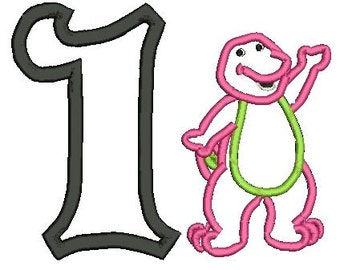 Barney Applique, Barney Birthday Applique, Applique Embroidery (116) Instant Download