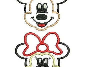 Minnie Mouse Applique, Mickey Mouse Applique, Embroidery Design (G103) Instant Download