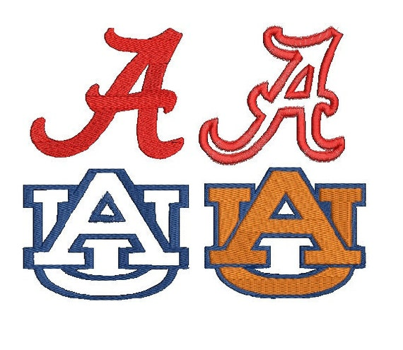 Alabama Auburn Applique and Filled Machine Embroidery pattern, 4 designs