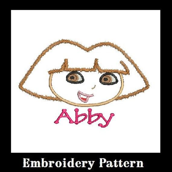 Dora Applique Embroidery Design, Dora Head Applique, Embroidery Applique (C23)