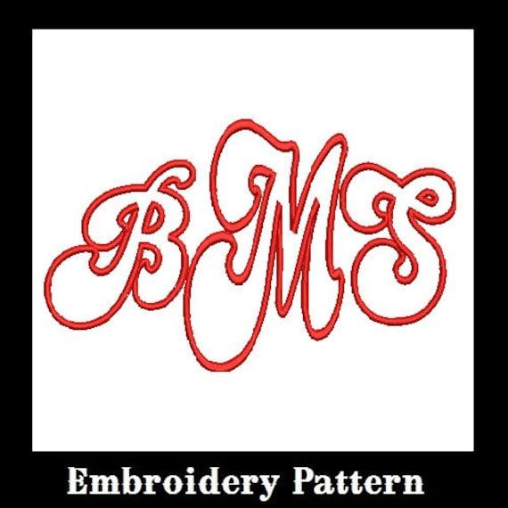 Applique Font Monogram Embroidery Designs, 3 Letters, Embroidery Font, Font Applique, Applique Design (M26)