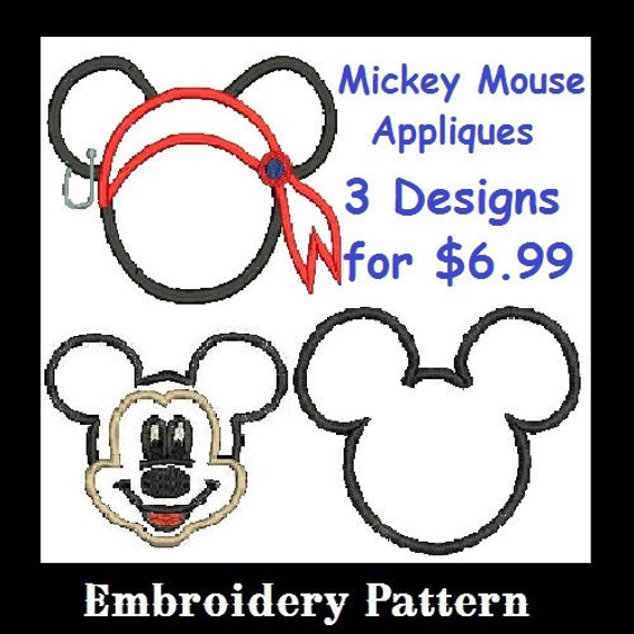 Mickey Mouse Applique Embroidery Design, Mickey Head, Mickey Applique, Mickey Pirate, Mickey Face (C61)