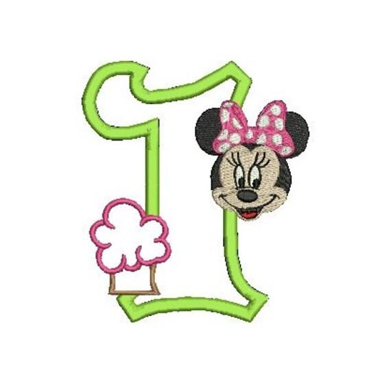 Minnie Mouse, Minnie Birthday, Minnie Applique Design, Minnie Ears, ,Minnie Number, Minnie Cupcake, Applique Design (C14)
