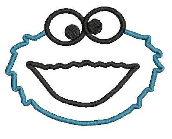 Cookie Monster Applique, Embroidery Design, Cookie Monster Embroidery, Applique Embroidery, Sesame Street Design (25) Instant Download