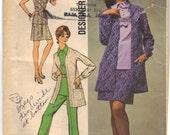 1970 Vintage UNCUT Simplicity Plus Size Blouse, Shirt, Pant & Jacket Pattern