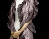 Ceremonious Scarf, Ruched Ruffle Silk Scarf In  Antique Pink With Brown Dip Dyed