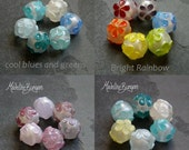Made to Order custom colour flowers, sparkle rounds Lampwork bead set (6 plus 7 spacers) SRA