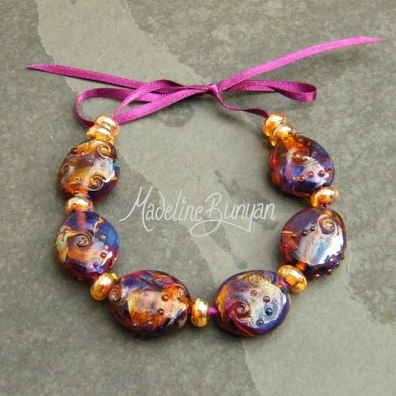 Sale 20% off - Purple Rainbow and gold Beads Lampwork Bead set 6 plus 9 spacers