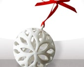 Christmas ornament - Earthenware - White and red - Free shipping