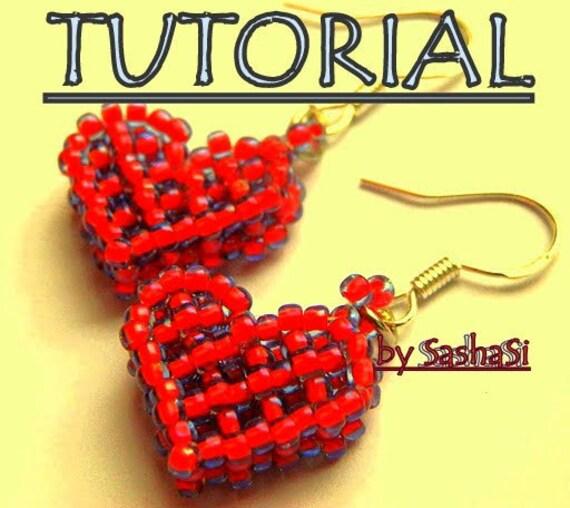 SALE - Beaded Heart Earrings Tutorial, PDF File