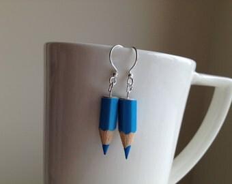 Blue Colouring Pencil Hook Earrings Nickel Free