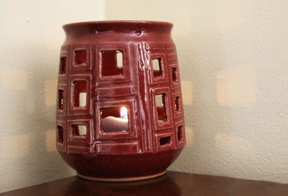 Ceramic Candleholder, Red