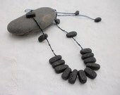 Black Lava Ajustable Knotted String Necklace
