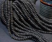 Black Lava Beads Rondelle 5x3mm Full Strand