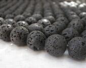 Black Lava Beads 12mm Round Full Strand