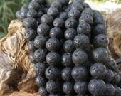 Black Lava 10mm Round Beads Full Strand