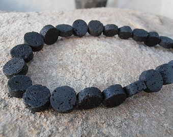"3 or 6 or 12 Strands Natural Black Lava 10x5 Coin Shape Beads - Full 16"" Strand / Liquidation Close Out Prices  3 - 12 Strands"