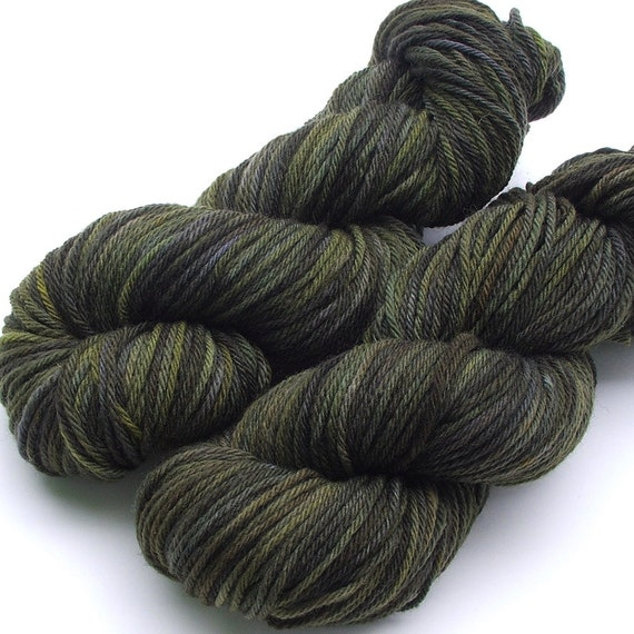Merino Worsted Weight Handpainted Yarn for Longies, Shorties and other woolens - 215 yards - Camo