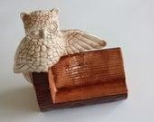 Vintage Owl And Log Card Holder or Picture Frame
