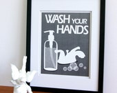 Bath art Bathroom decore -pick any 1 sign in any color- word art for the bathroom, Wash your hands