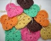Crocheted hearts 10 pieces with loop, brown, pink, orange, vanilla, seagreen