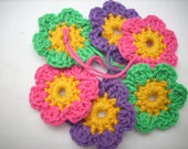 Crocheted flowers 6 pieces with hangingloop green purple pink