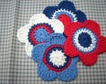crocheted flower applique large 5 petal flowers red denim creme navy  matinique shades