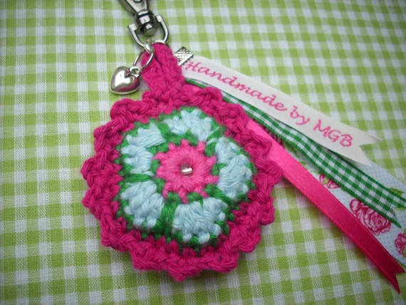 Crocheted keychain crochet flower with little heart charm great christmas gift pink green lightblue