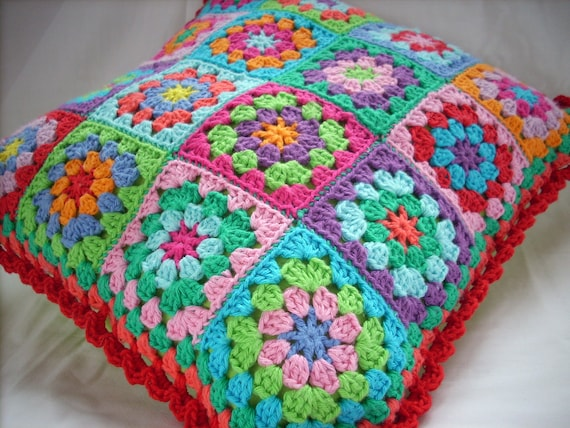 Crochet Granny Square cushioncover pillowcover Rainbow colors bright colors