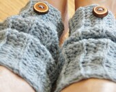 Legwarmers Wristwarmers With Tree Bark Buttons in Blue, Hand Crocheted Girls