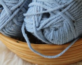 Wool Blend Yarn in Light Blue Tweed, 2 Bulky Skeins