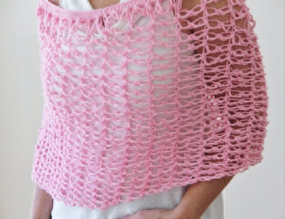 Pink Capelet Shrug, Hand Crocheted Lacy Wool Blend Wrap