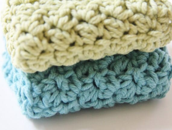 Spa Wash Cloths in Blue and Green Cotton, Set of Two