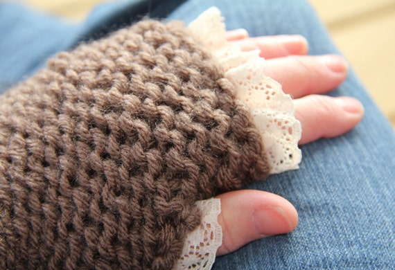 Brown Wrist Warmers With Lace, Ladies Chunky Fingerless Gloves