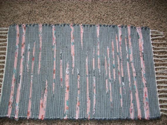loom woven rag rug grey gray peach south dakota made