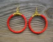 Red Leather Hoops
