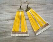 Fringe Leather Earrings - Mustard Yellow