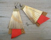 Fringe Leather Earrings - Red, Brown & Gold
