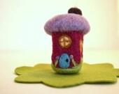 Needle Felted-Tiny Mushroom House