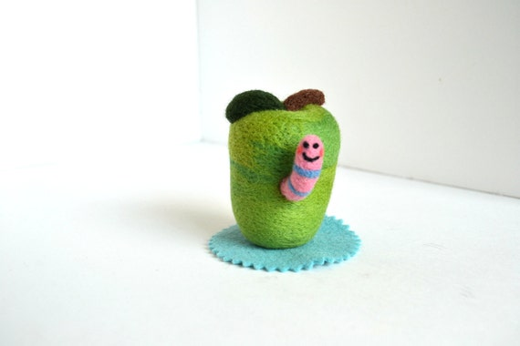 Needle Felted Green Apple with Happy Worm- Natural Toys