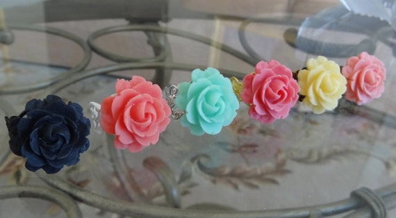 Blooming Rose Ring - YOUR CHOICE Color Black, Coral Red, Blue, Fuchsia, Lemon Yellow, or Pink Rose on Your Choice Filigree Adjustable Band