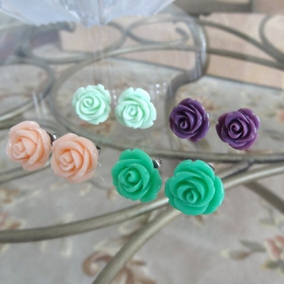 Beauty Bloomers - YOUR CHOICE Color Roses on Nickel Free Titanium Post Earrings - Jade Green, Mint, Light Pink, Purple