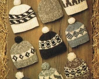Cowichan White Buffalo Wool Hat Toque Knitting Pattern 9 Designs on Etsy Digital Pattern  Instant Download