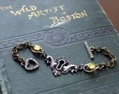You've Got the Key, So... Vintage found object bracelet, keyhole with jeweled chain links, toggle clasp